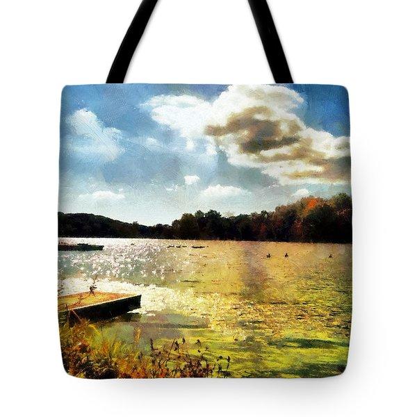 Mohegan Lake Gold Tote Bag by Derek Gedney