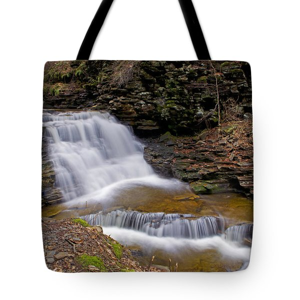 Mohican Falls In Spring Tote Bag