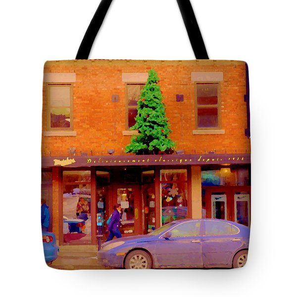 Moishes On The Main At Christmas Time Montreal Restaurant Winter City Scene Art Carole Spandau Tote Bag by Carole Spandau