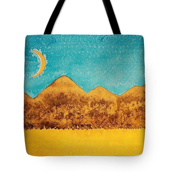 Mojave Moonrise Original Painting Tote Bag by Sol Luckman