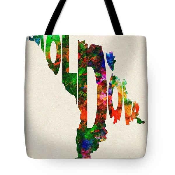 Moldova Typographic Watercolor Map Tote Bag