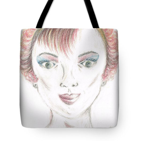 Tote Bag featuring the drawing Mollys Makeover/ Pink Day by Teresa White