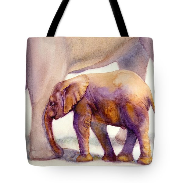 Mom And Baby Boy Elephants Tote Bag