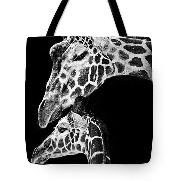 Mom And Baby Giraffe  Tote Bag