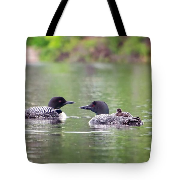 Mom And Dad Loon With Baby On Back Tote Bag