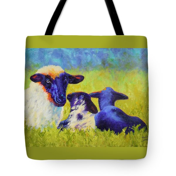 Mom And The Kids Tote Bag by Nancy Jolley