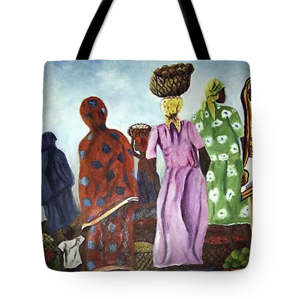 Tote Bag featuring the painting Mombasa Market by Sher Nasser