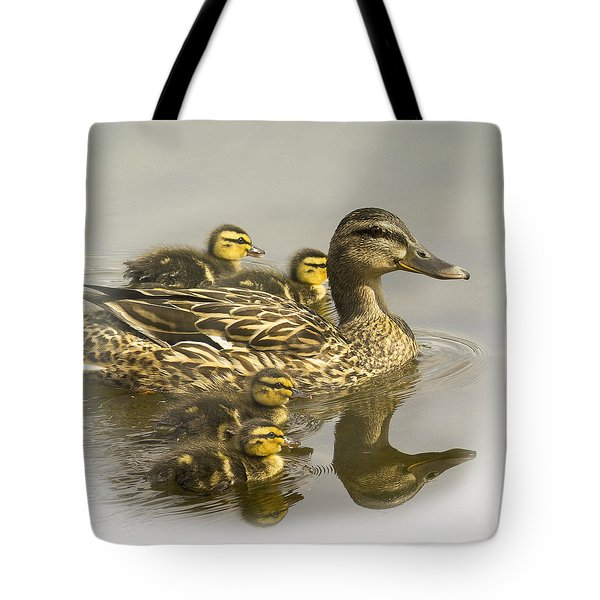 Momma And Babies Tote Bag