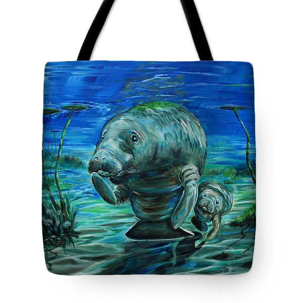 Momma Manatee Tote Bag