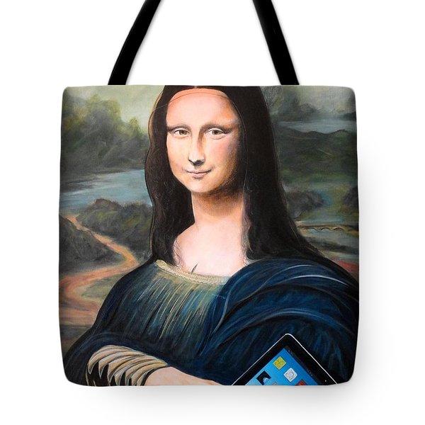 Mona Lisa With Ipad Tote Bag by John Lyes