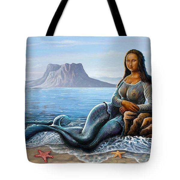 Monalisa Mermaid Tote Bag by Anthony Mwangi