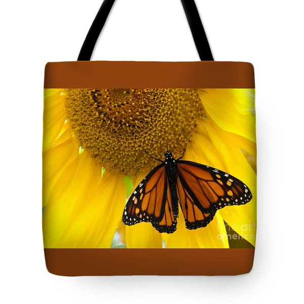 Monarch And Sunflower Tote Bag by Ann Horn