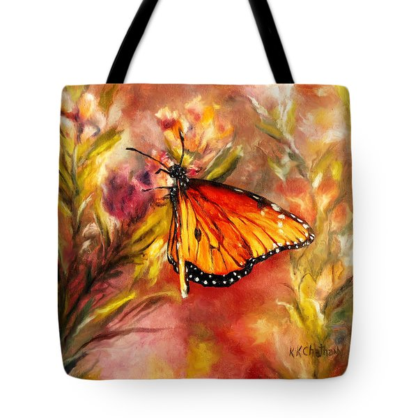 Tote Bag featuring the painting Monarch Beauty by Karen Kennedy Chatham