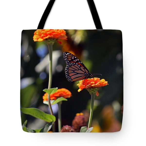 Monarch Butterfly And Orange Zinnias Tote Bag by Kay Novy