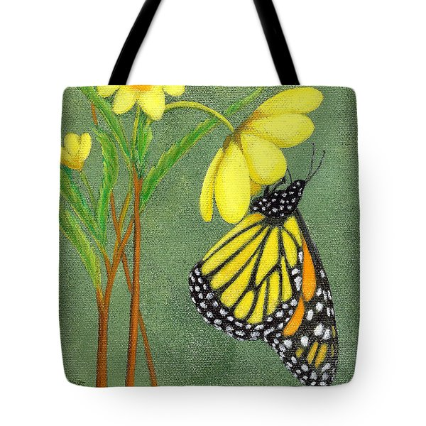 Tote Bag featuring the painting Monarch Gold by Fran Brooks