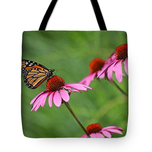 Monarch On Garden Coneflowers Tote Bag