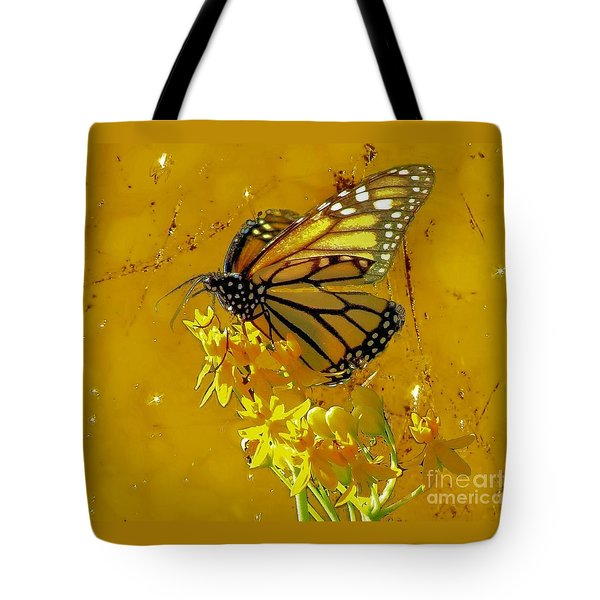 Tote Bag featuring the photograph Monarch On Gold by Janette Boyd