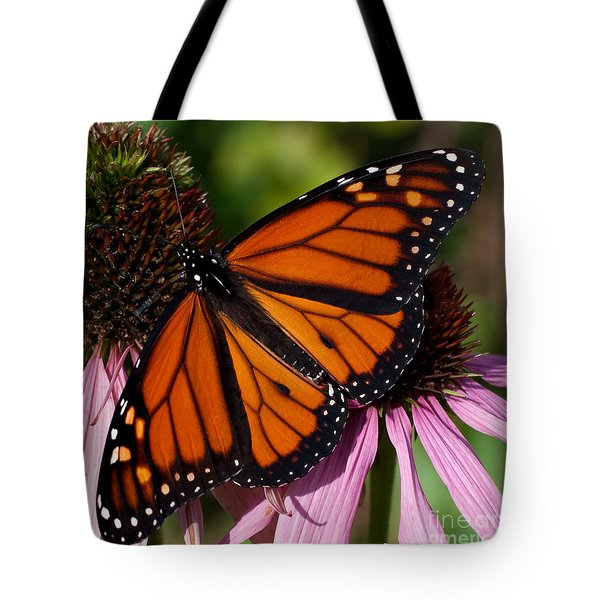 Tote Bag featuring the photograph Monarch On Purple Coneflower by Barbara McMahon