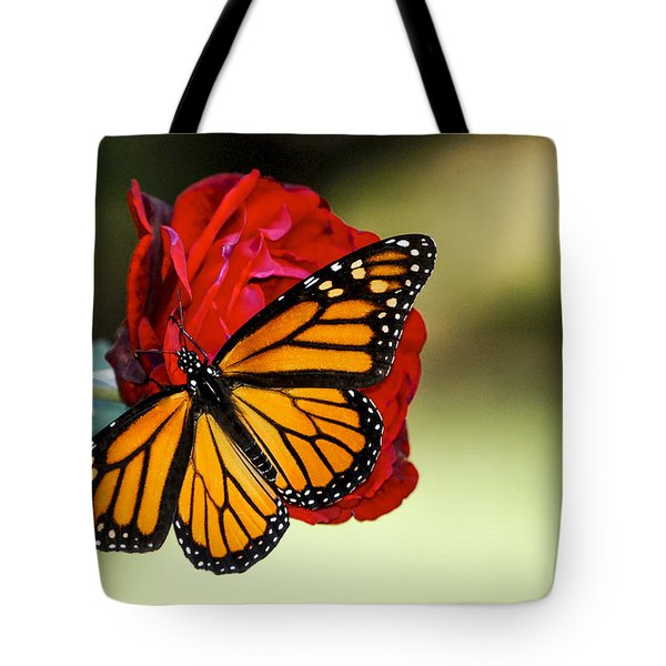 Monarch On Rose Tote Bag