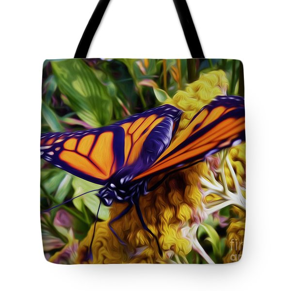 Monarch On Yarrow Tote Bag