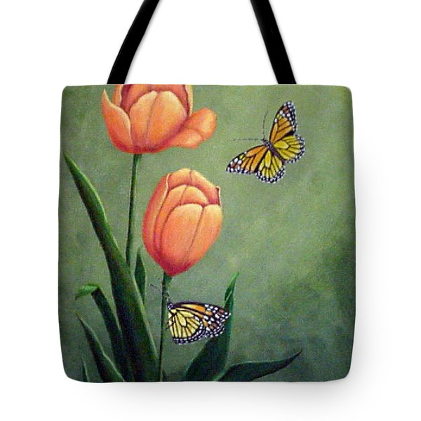 Monarchs And Golden Tulips Tote Bag