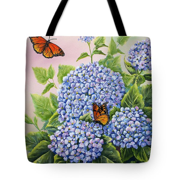 Monarchs And Hydrangeas Tote Bag