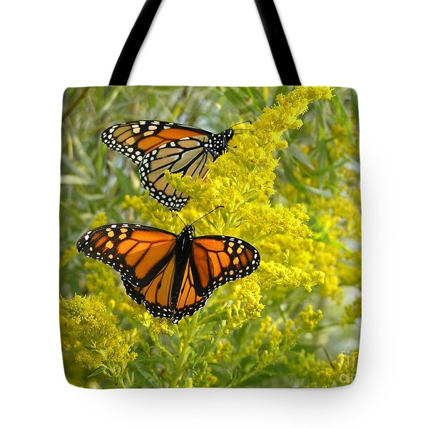Monarchs On Goldenrod Tote Bag by Susan  Dimitrakopoulos
