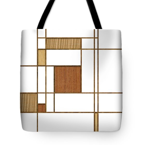 Mondrian In Wood Tote Bag