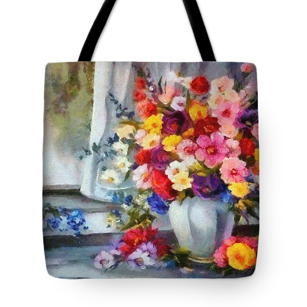Monet Floral Edged Tote Bag