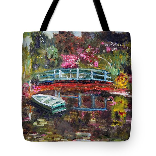 Tote Bag featuring the painting Monet's Green Boat In His Garden by Michael Helfen