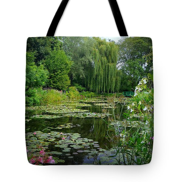 Monet's Pond With Waterlilies And Bridge Tote Bag by Carla Parris