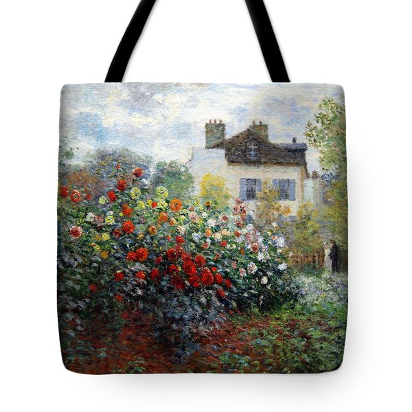 Tote Bag featuring the photograph Monet's The Artist's Garden In Argenteuil  -- A Corner Of The Garden With Dahlias by Cora Wandel