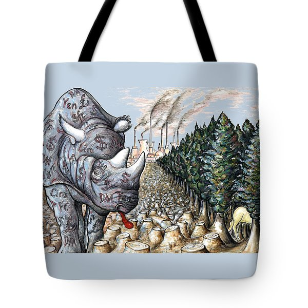 Money Against Nature - Cartoon Art Tote Bag by Art America Online Gallery