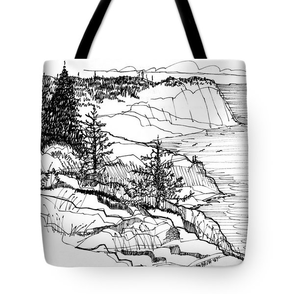 Tote Bag featuring the drawing Monhegan Cliffs 1987 by Richard Wambach