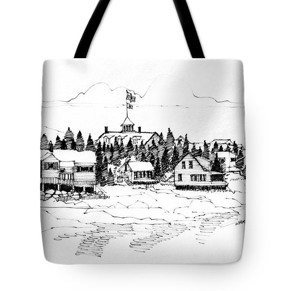 Tote Bag featuring the drawing Monhegan Village 1987 by Richard Wambach