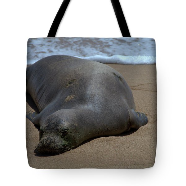 Monk Seal Sunning Tote Bag by Brian Harig