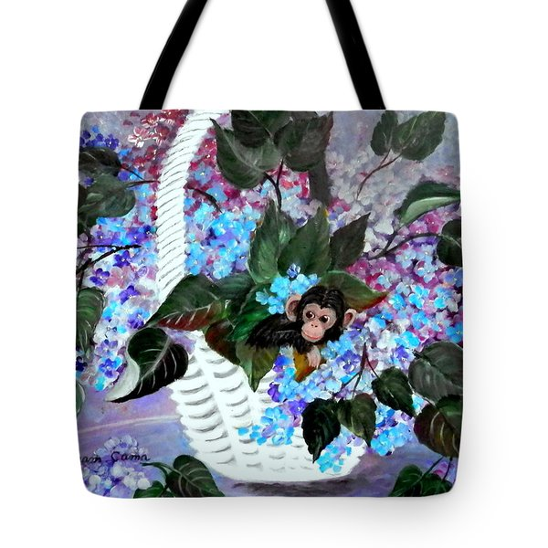 Tote Bag featuring the painting Monkey Busines by Fram Cama