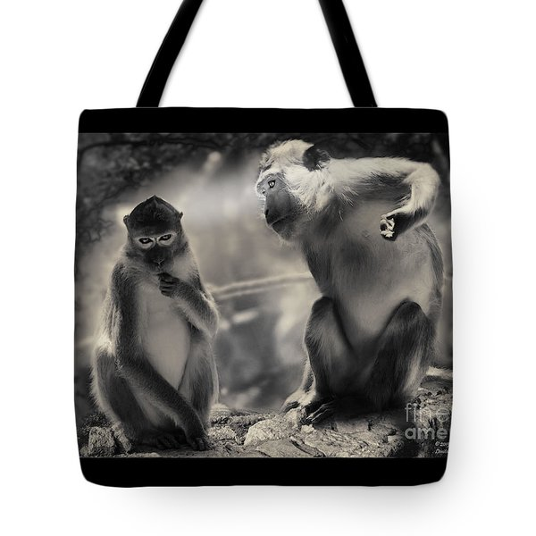 Tote Bag featuring the photograph Monkeys In Freedom by Christine Sponchia