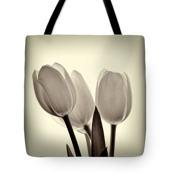Monochrome Tulips With Vignette Tote Bag