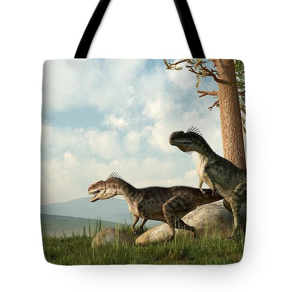 Monolophosaurs On The Hunt Tote Bag