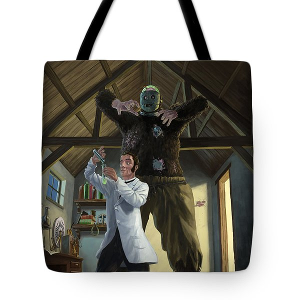 Monster In Victorian Science Laboratory Tote Bag by Martin Davey