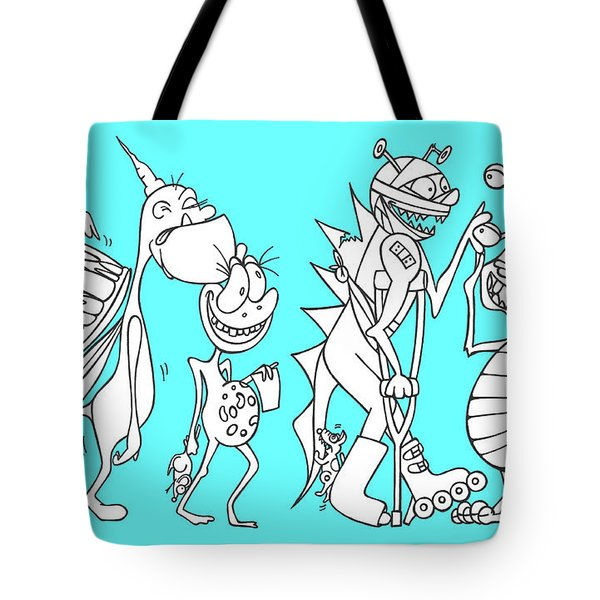 Monster Queue Blue Tote Bag