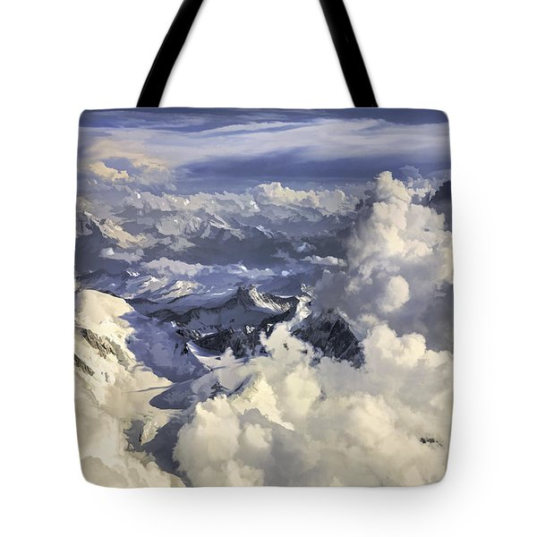 Tote Bag featuring the painting Mont Blanc by Muhie Kanawati