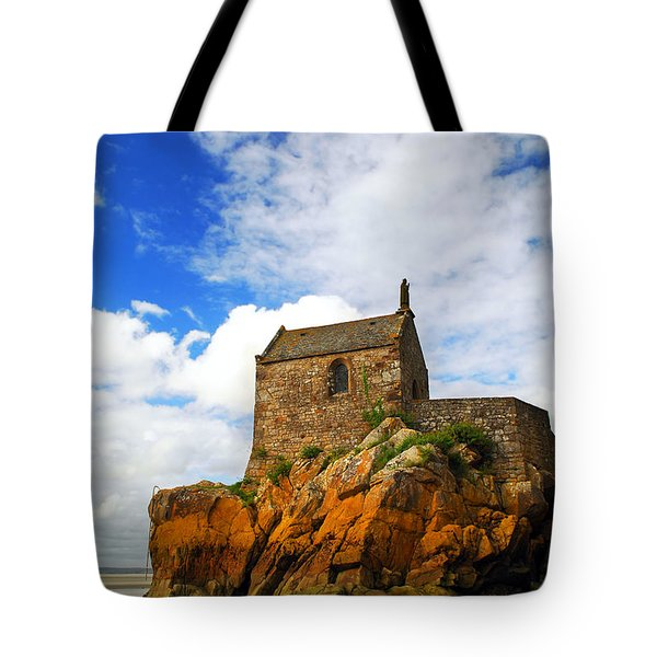 Mont Saint Michel Abbey Fragment Tote Bag by Elena Elisseeva