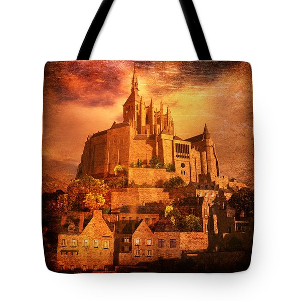 Tote Bag featuring the digital art Mont Saint-michel by Kylie Sabra
