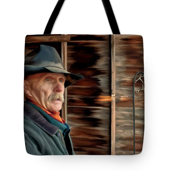 Tote Bag featuring the painting Montana Cowboy by Michael Pickett