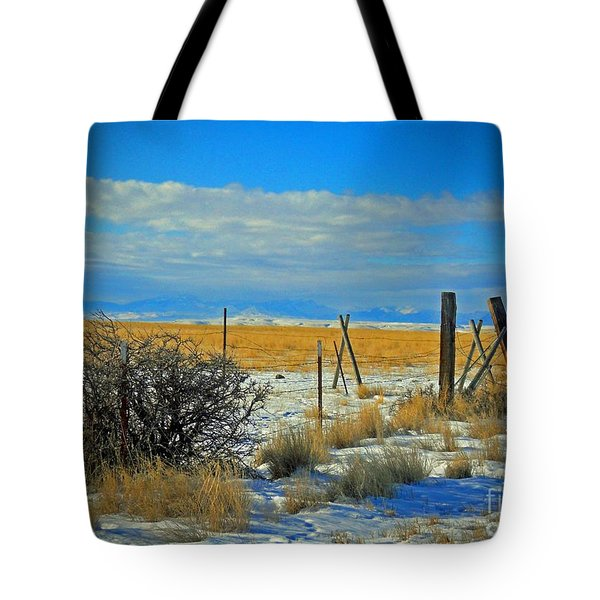 Montana Fencerow Tote Bag by Desiree Paquette
