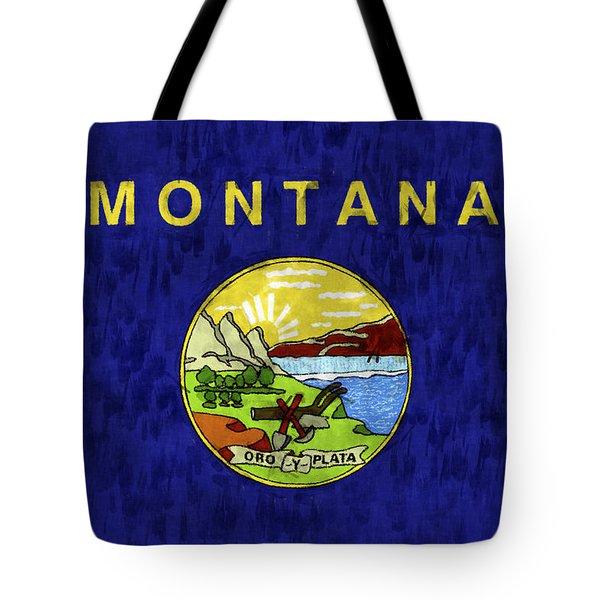 Montana Flag Tote Bag by World Art Prints And Designs