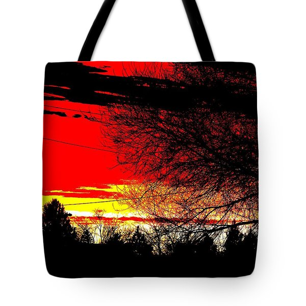 Tote Bag featuring the digital art Montana January Sunset by Aliceann Carlton