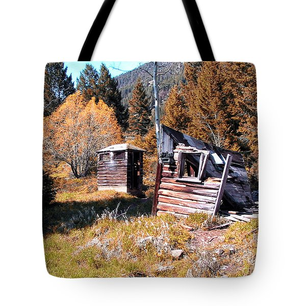 Montana Outhouse 01 Tote Bag by Thomas Woolworth
